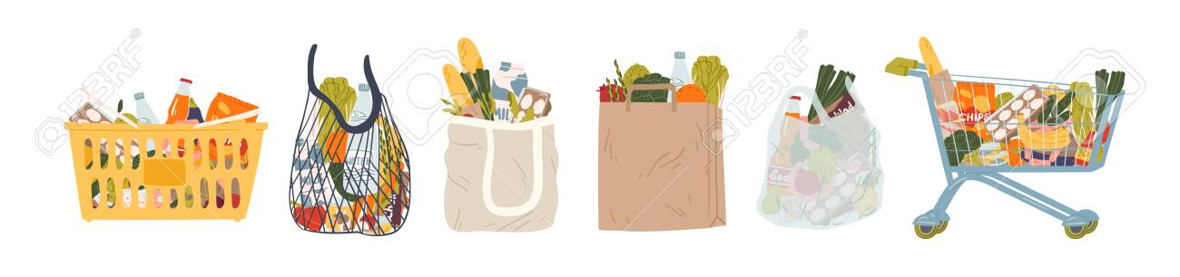 Shopping bags and baskets flat vector illustrations set. Grocery purchases, paper and plastic packages, turtle bags with products. Natural food, organic fruits and vegetable. Department store goods. - 135951160