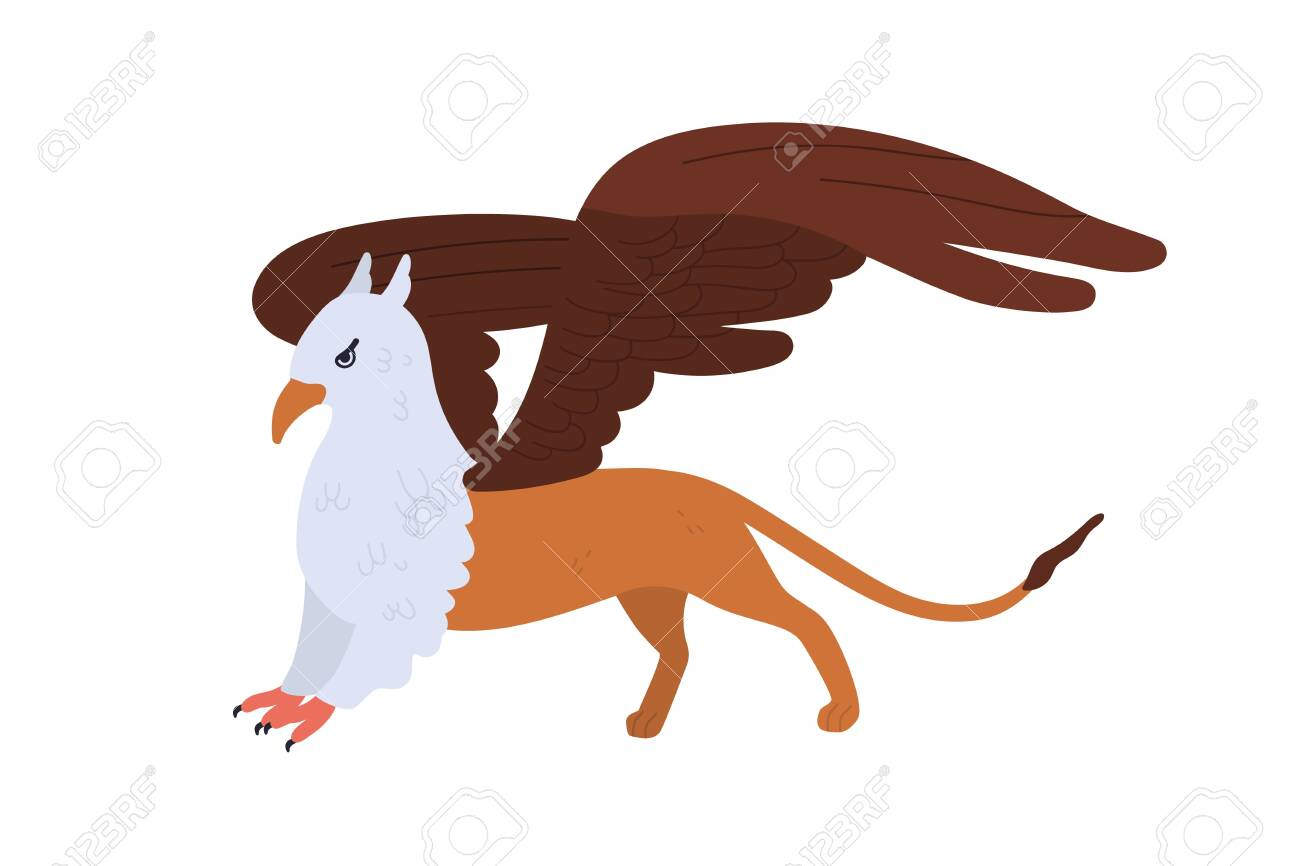 Half bald eagle and lion mythical creature isolated on white background. Cartoon griffon vector flat illustration. Mythology character with wings colorful fantasy animal - 140757274
