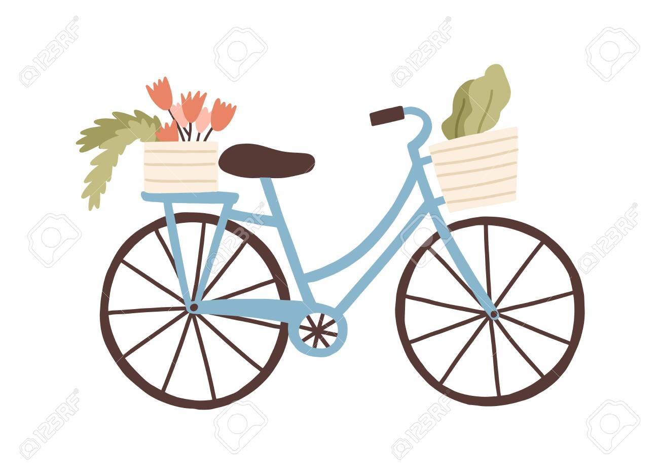 Cute hand drawn bicycle or bike isolated on white background. Urban eco friendly pedal transport carrying baskets with flowers and plants vector flat illustration. Retro vehicle with flower bouquet. - 151514102