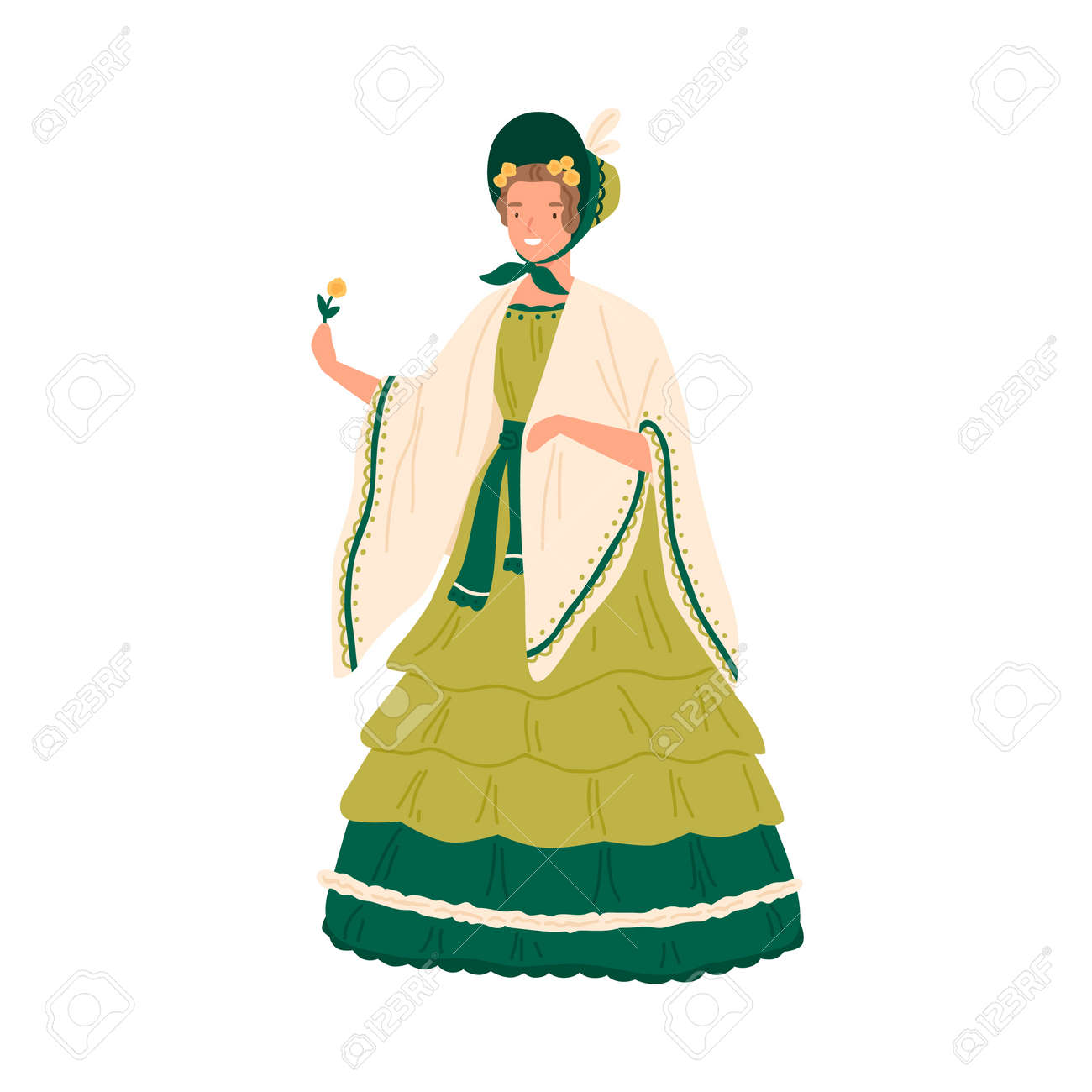 Vintage young woman wearing retro dress and hat decorated with ruffles in 1830s decade style. Female character in elegant baroque clothes. Flat vector cartoon illustration isolated on white - 159941172