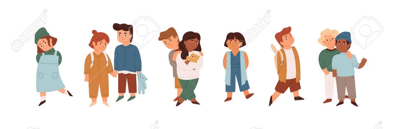 Group of cute little children standing together. Crowd of diverse multiracial kids. Team of happy smiling boys and girls. Colored flat cartoon vector illustration isolated on white background - 165271667