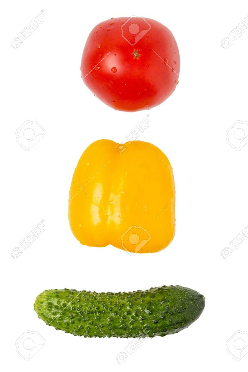 Cucumber Bell Pepper And Tomato In Traffic Light Order Isolated Stock Photo    15137962