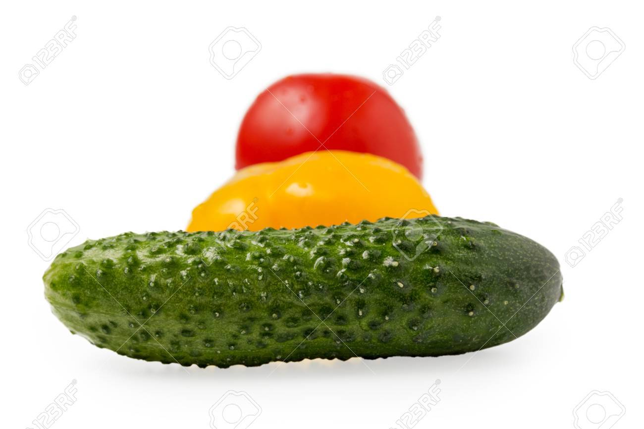 Cucumber Bell Pepper And Tomato In Traffic Light Order Isolated Stock Photo    15137921