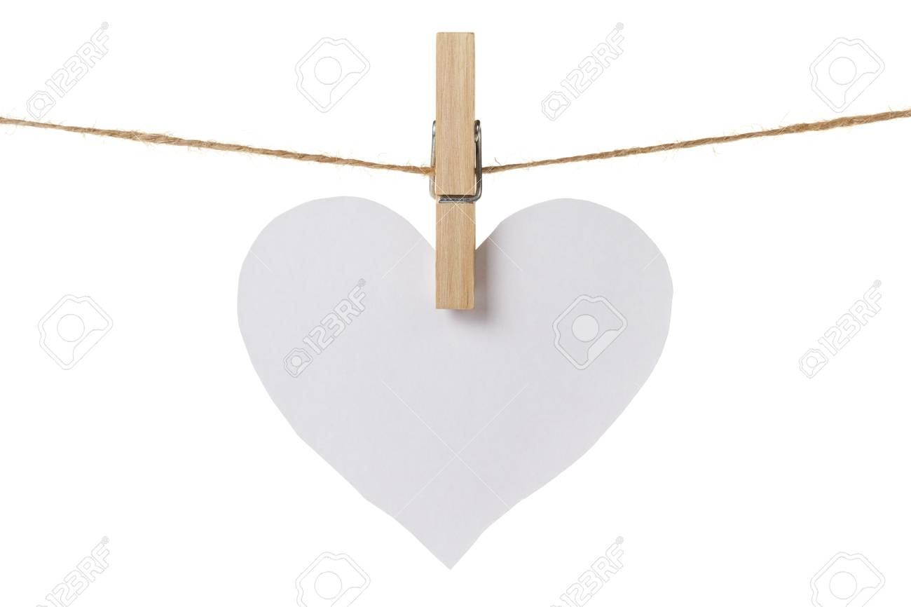 white paper heart hanging, isolated on white Stock Photo - 17030352