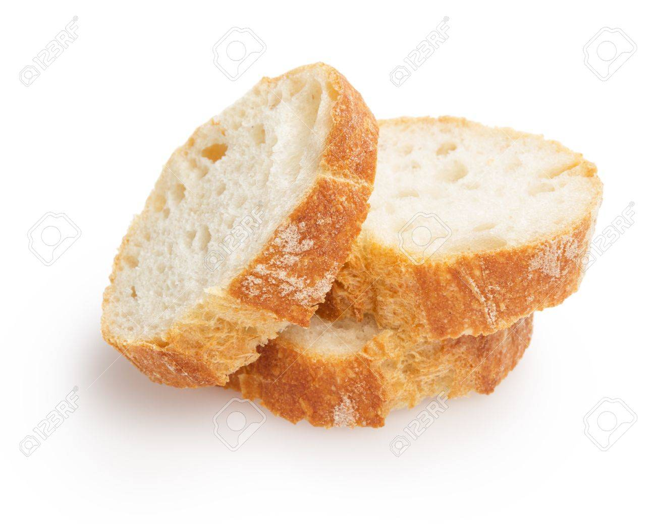 French Baguette Slices Isolated On White Background Stock Photo