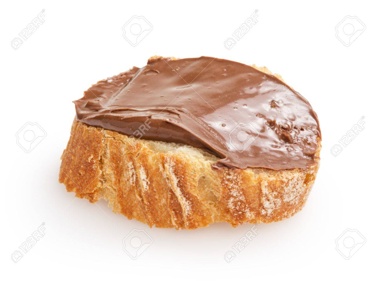baguette slice spread with nut-choco paste, isolated on white Stock Photo - 18464185