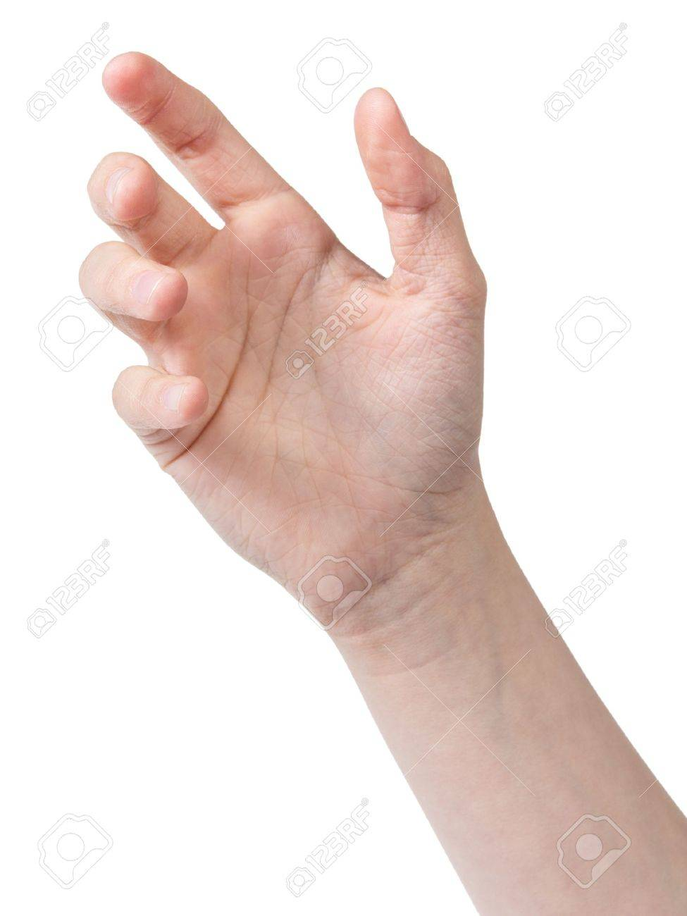 female teen hand to hold something like phone, isolated on white - 19023396