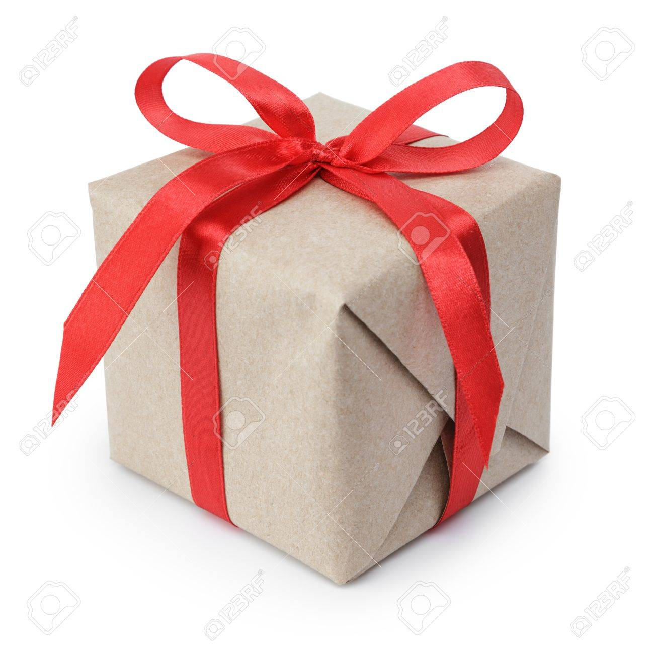 small gift box wraped in recycled paper with ribbon bow, isolated Stock Photo - 22011184