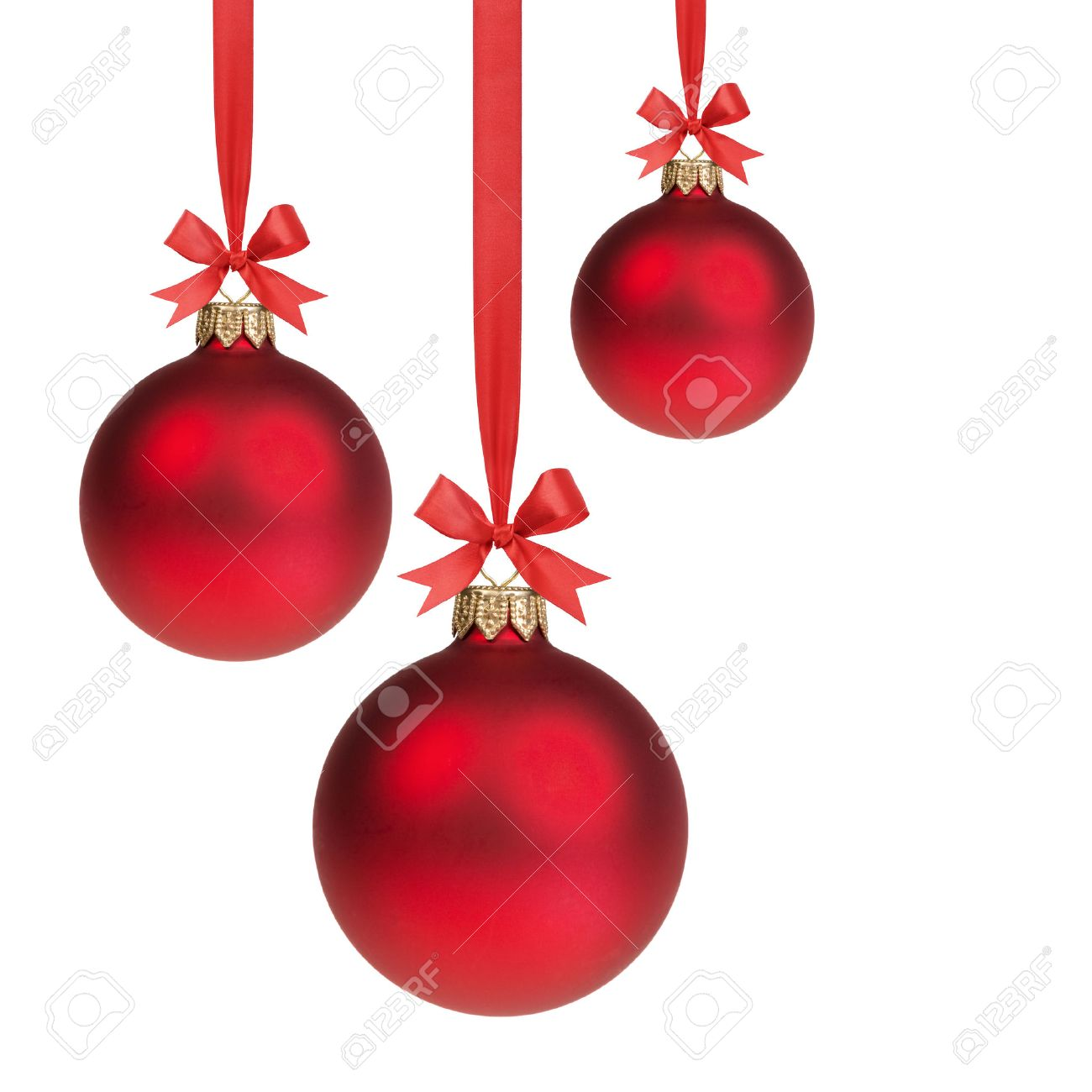three red christmas balls hanging on ribbon with bows, isolated on white Stock Photo - 22721390