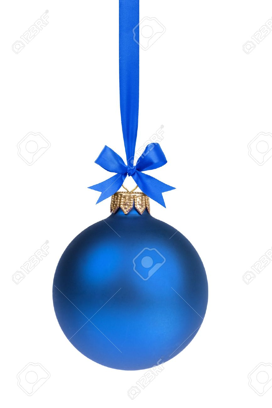 single simple blue christmas ball hanging on ribbon stock photo 22876991 - Blue Christmas Trees