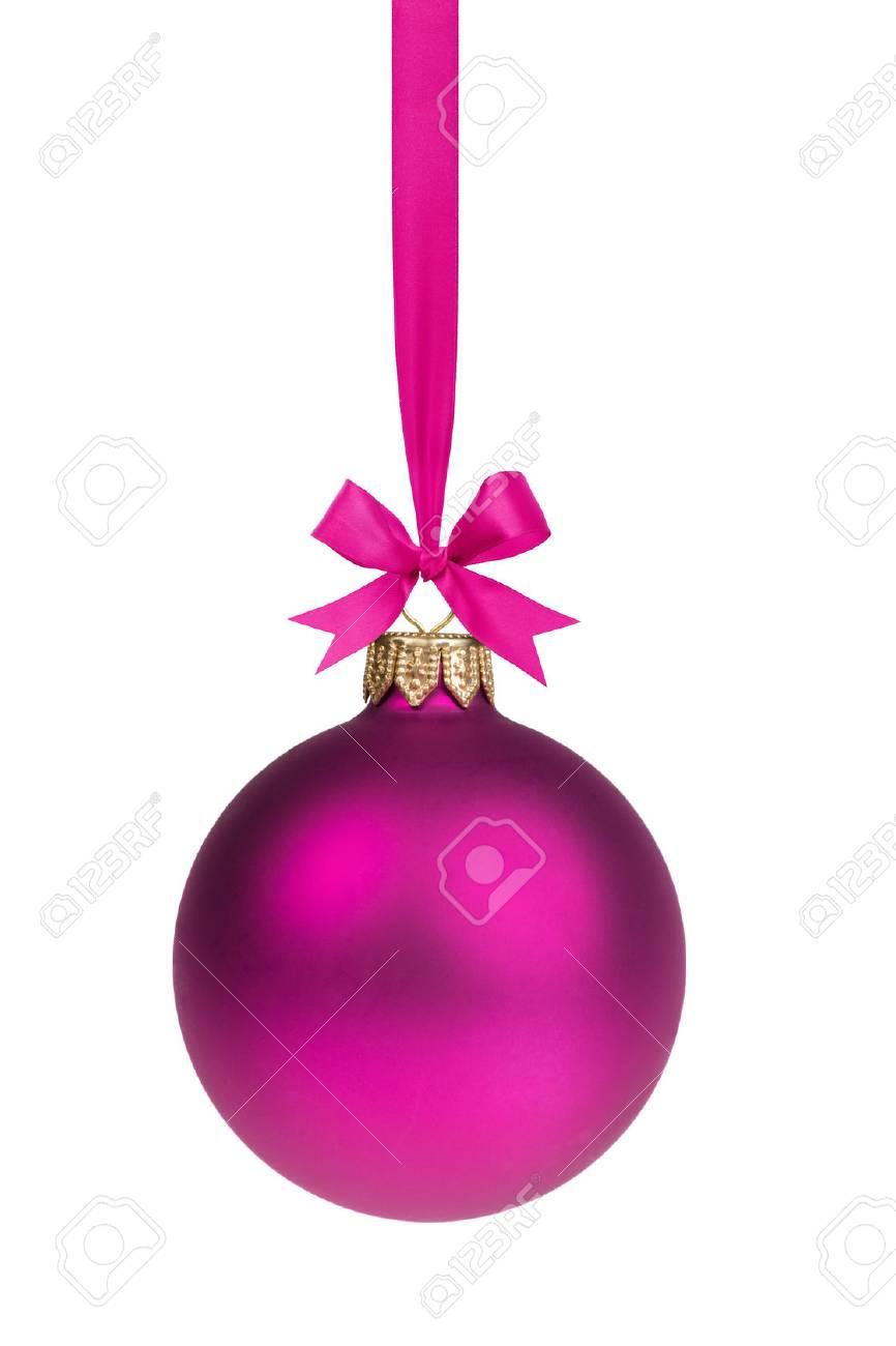 Simple Et Unique Boule De Noël Pourpre Suspendu à Ruban Banque D