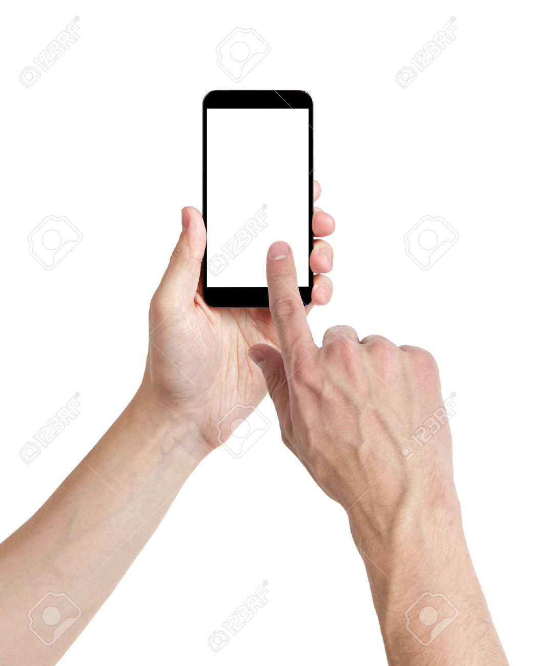 adult man hands using mobile phone with white screen, isolated Stock Photo - 23467163