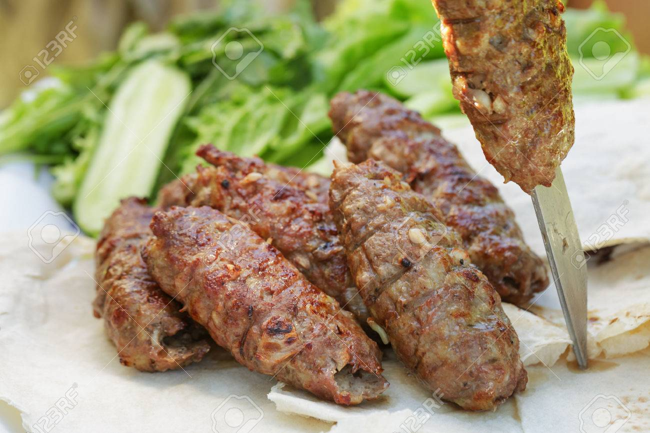 Traditional Shish Kebab From Lamb Meat, Outdoor Food Stock Photo ... for Lamb Meat Photography  29dqh