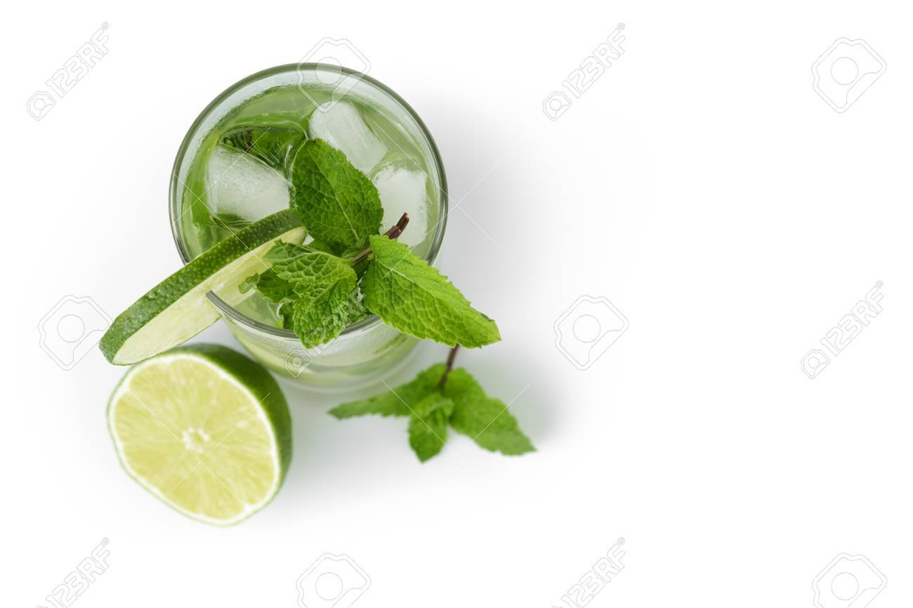 fresh classic long drink mojito, isolated on white background - 30987925