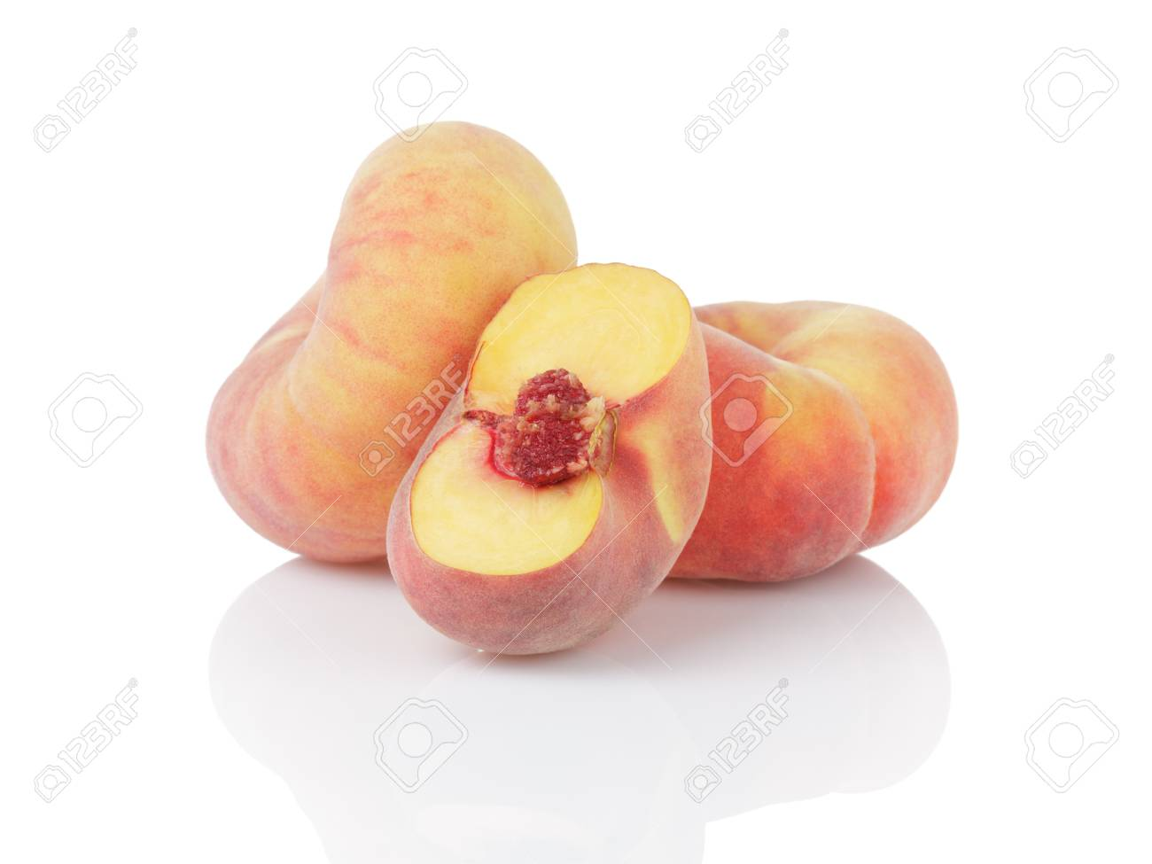 ripe flat donut peaches, isolated on white background - 31240827