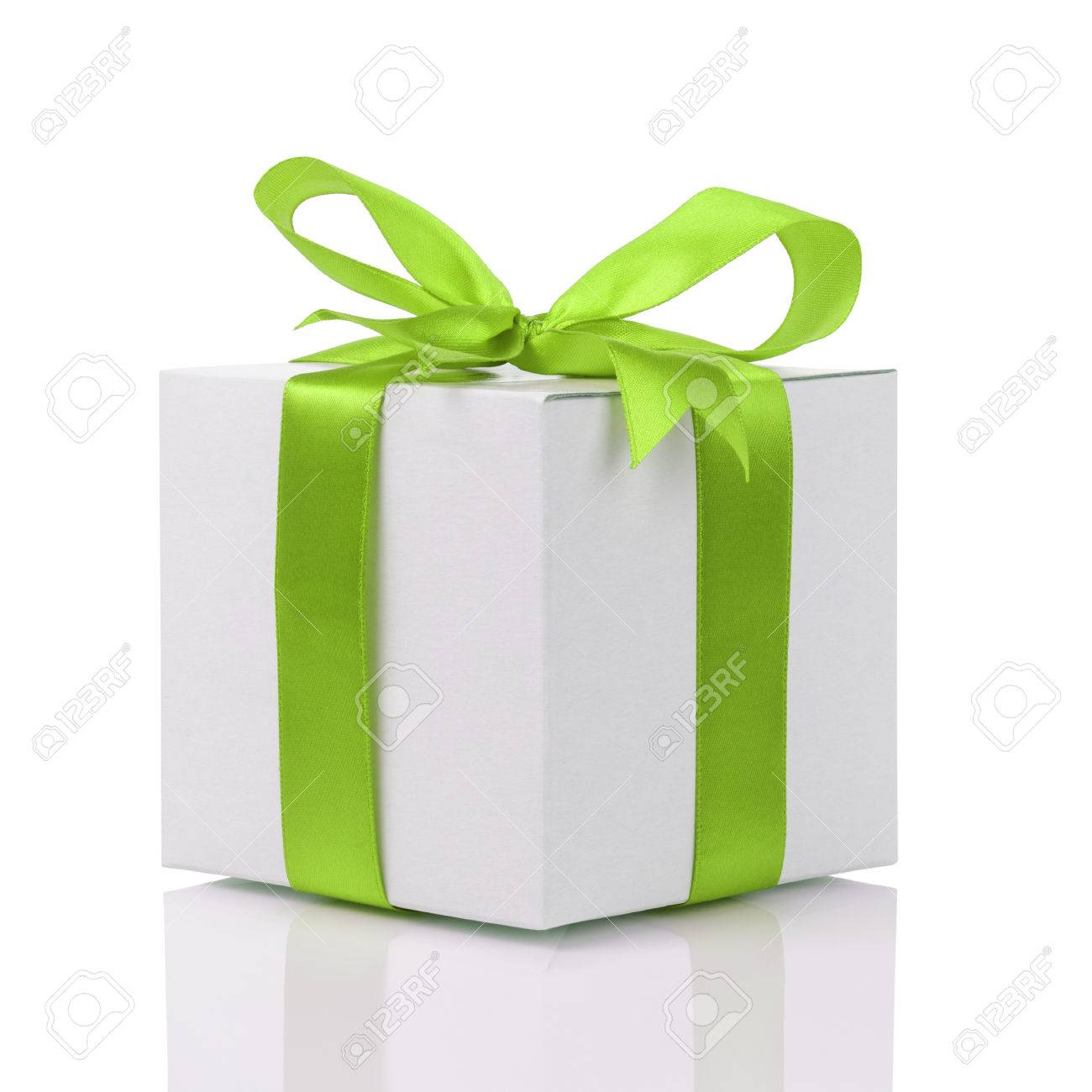 gift box with handmade green ribbon bow, isolated on white - 32315514