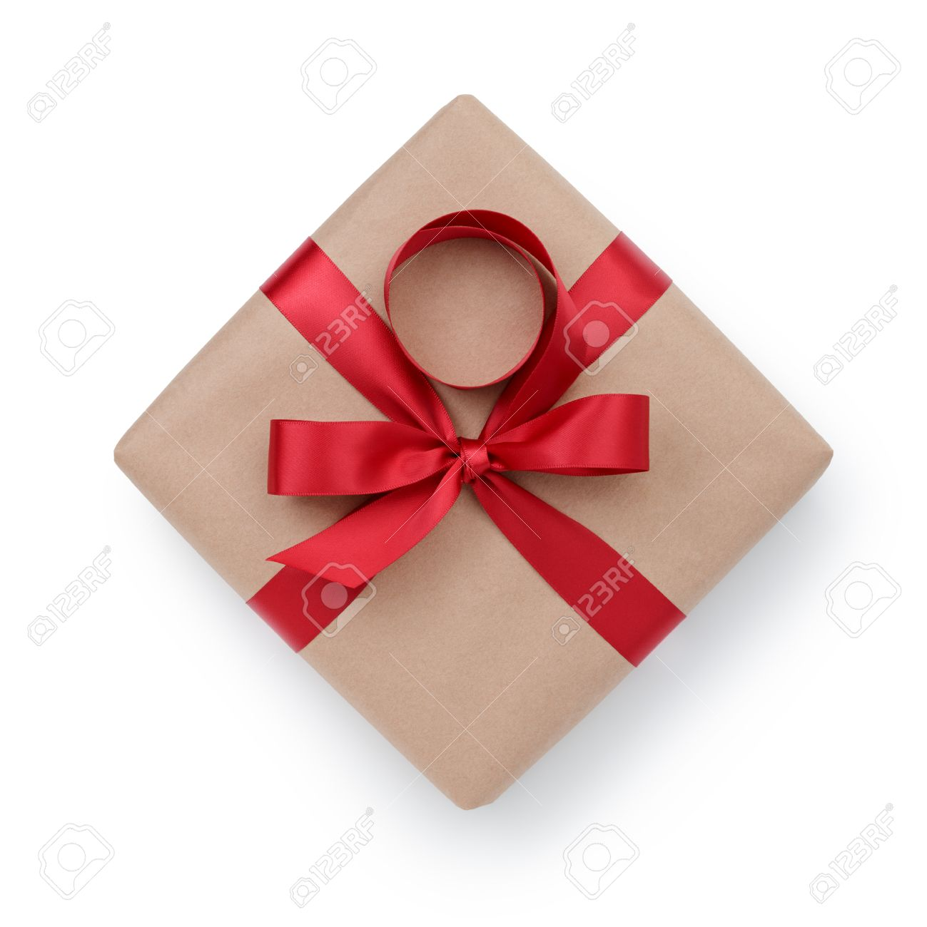 kraft paper gift box with ribbon bow from above, white background - 33600179