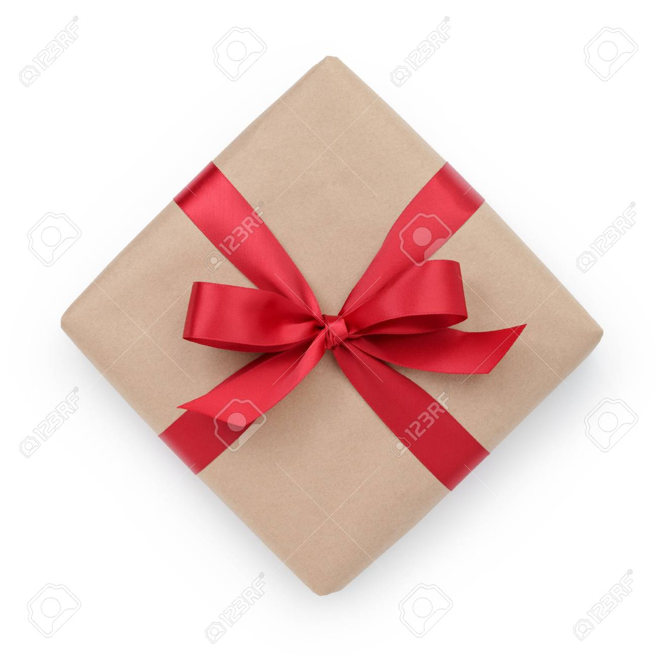 kraft paper gift box with ribbon bow from above, white background - 33870892