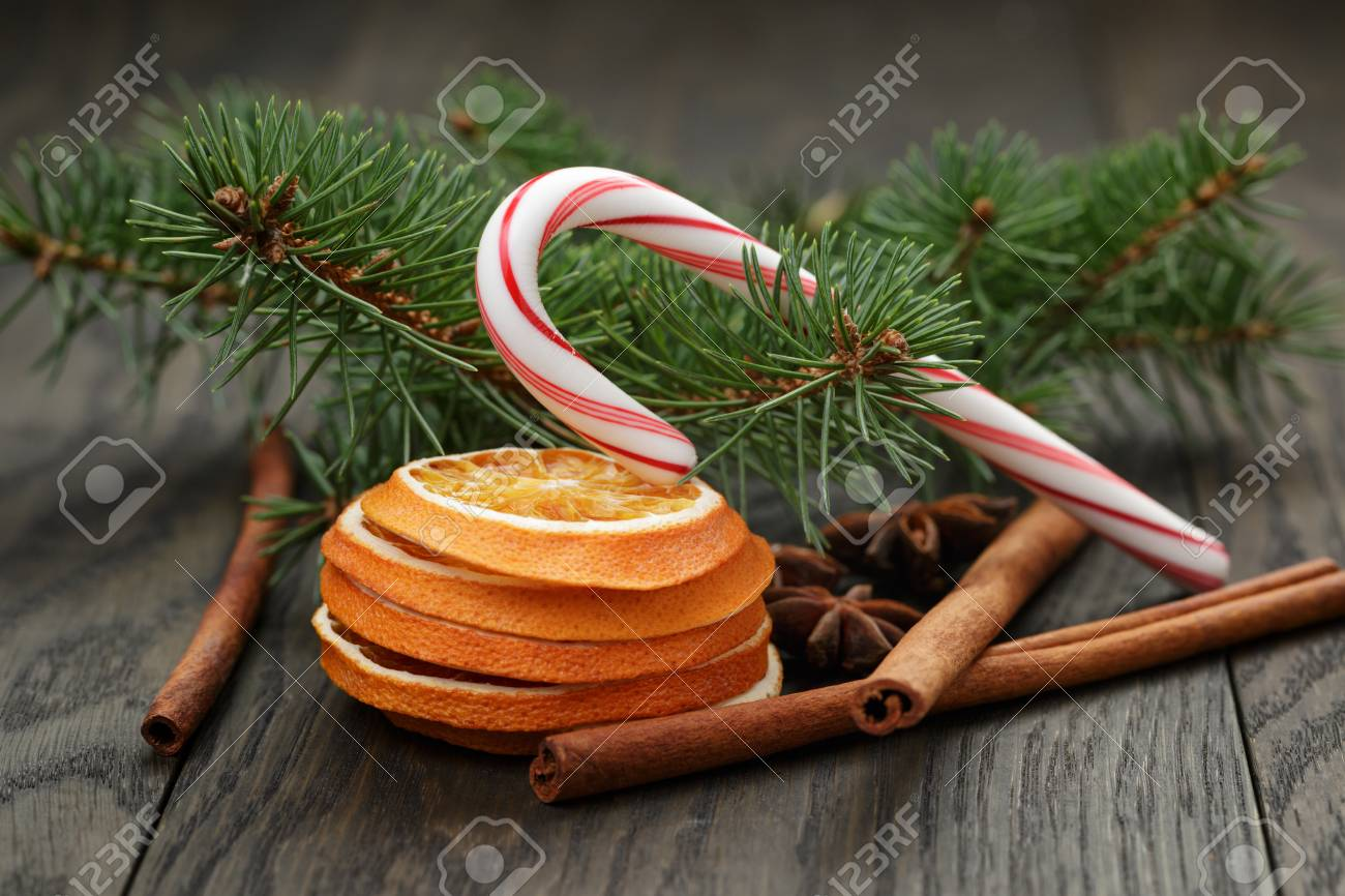 Traditional Christmas Decorations, On Old Oak Table Stock Photo ...