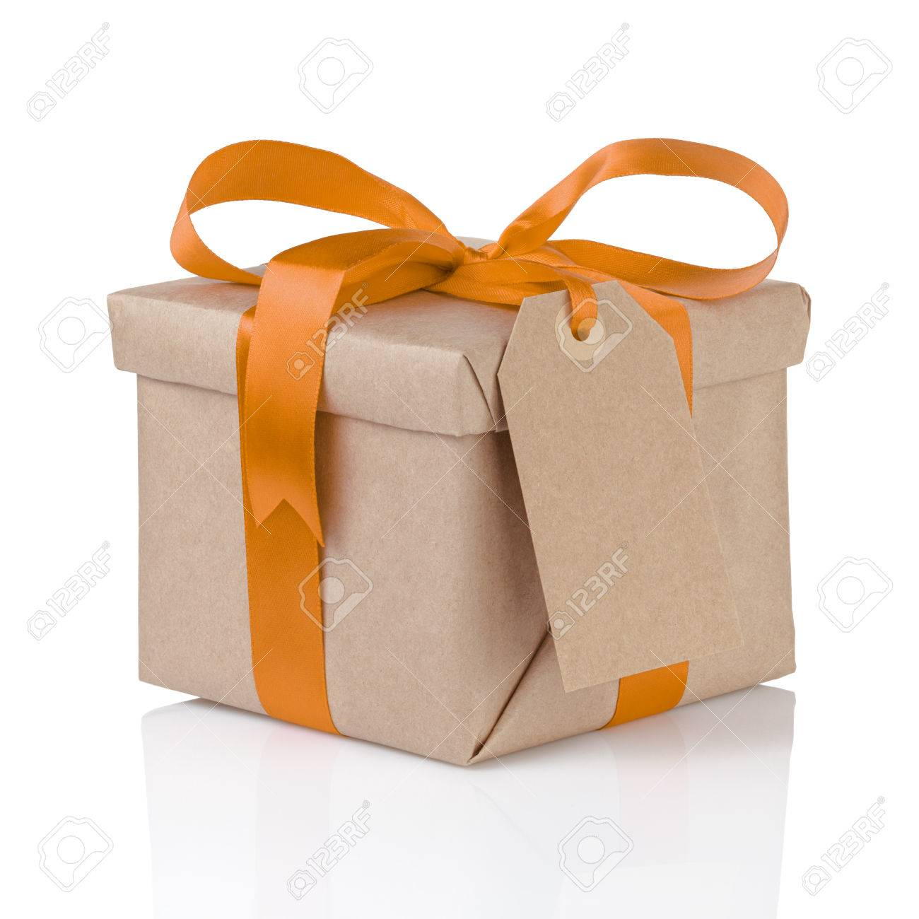 one gift christmas box wrapped with kraft paper and orange bow, isolated - 34269666