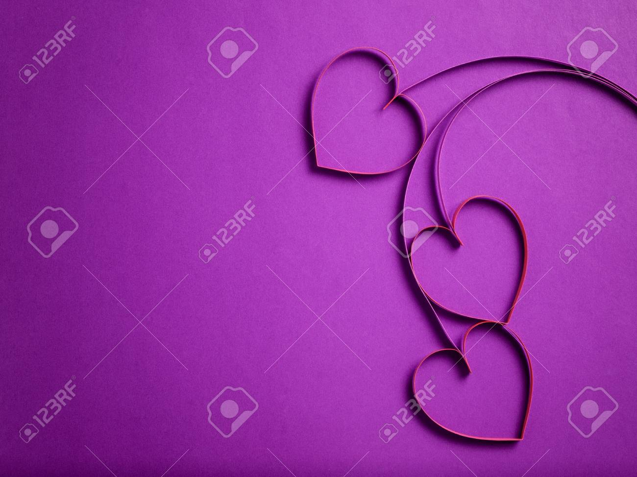 Quilling Paper Hearts Like Flowers Valentines Day Background Stock