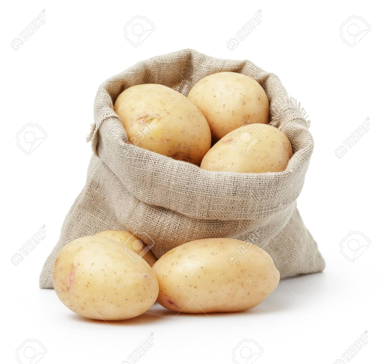 raw fresh potatoes in burlap bag isolated on white - 37252052