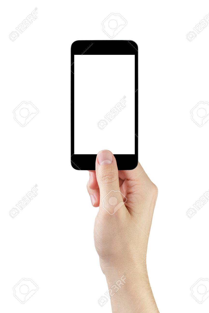 adult man hand taking photo with generic smartphone, isolated - 37681342