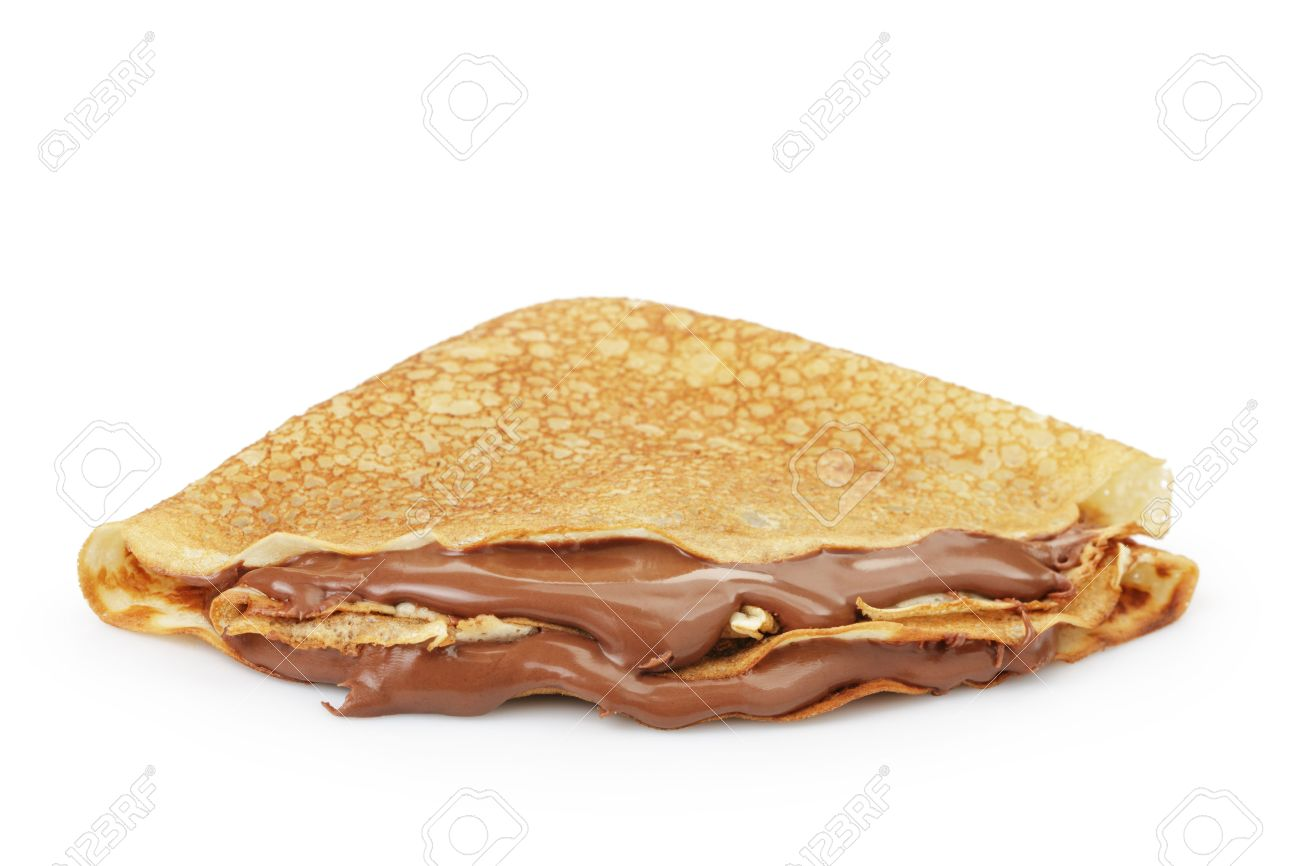 fresh hot blinis or crepes with chocolate spread isolated on white - 39104991