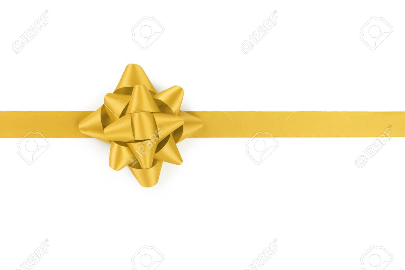 yellow ribbon with gift bow isolated on white background - 47531085
