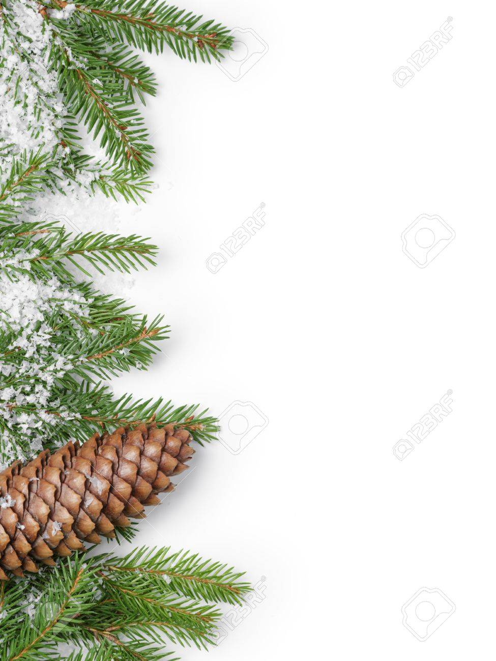 fir branches border on white background, good for christmas backdrop - 48268147