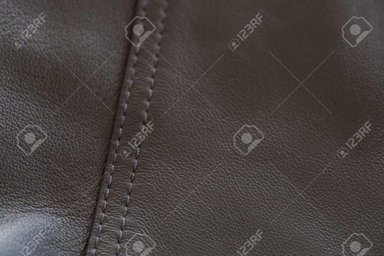 Detail shot of supple leather jacket with stitching - 173681389