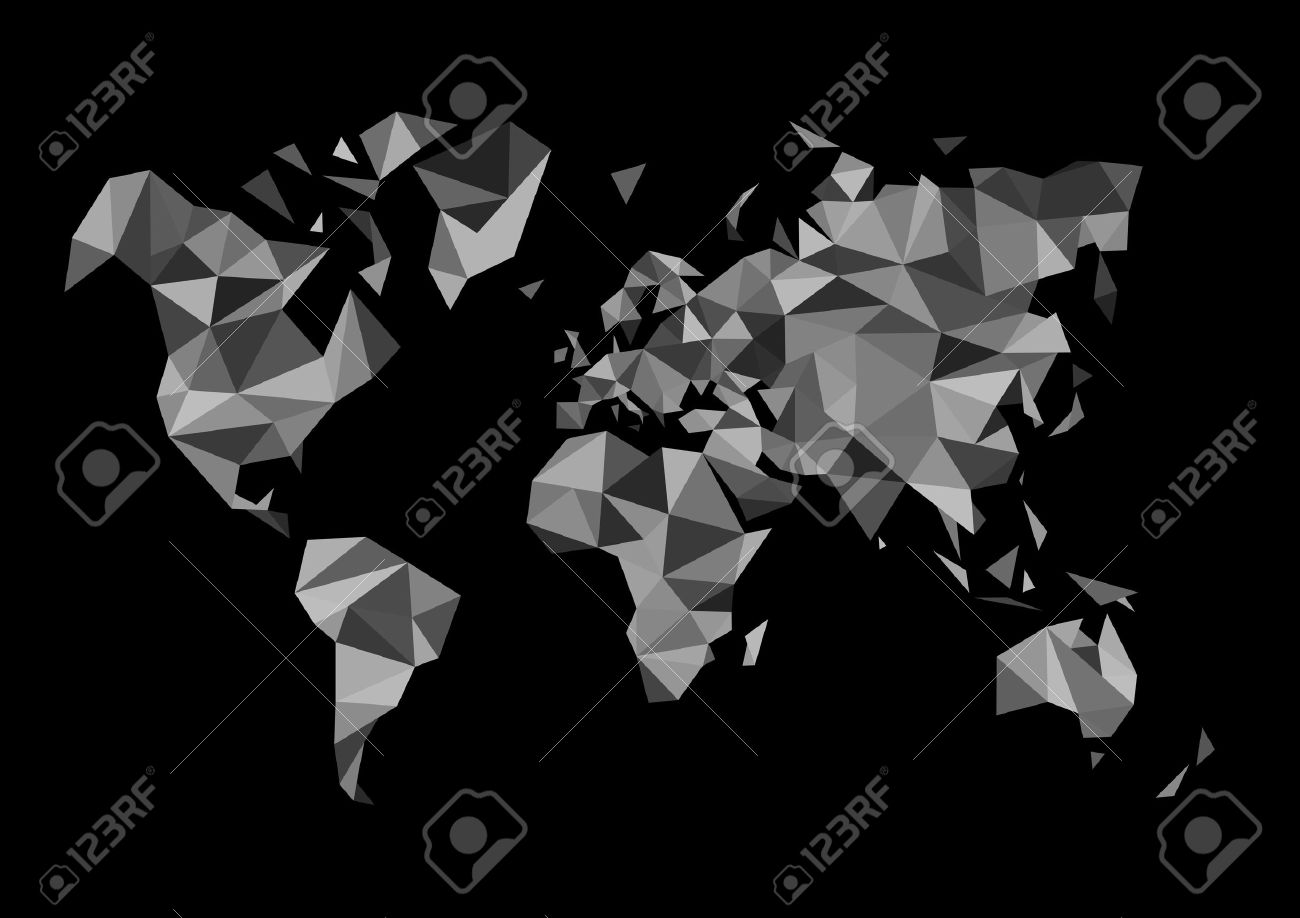 Monochrome world map made in the style of polygon drawing black monochrome world map made in the style of polygon drawing black white stock vector 38572917 gumiabroncs Gallery