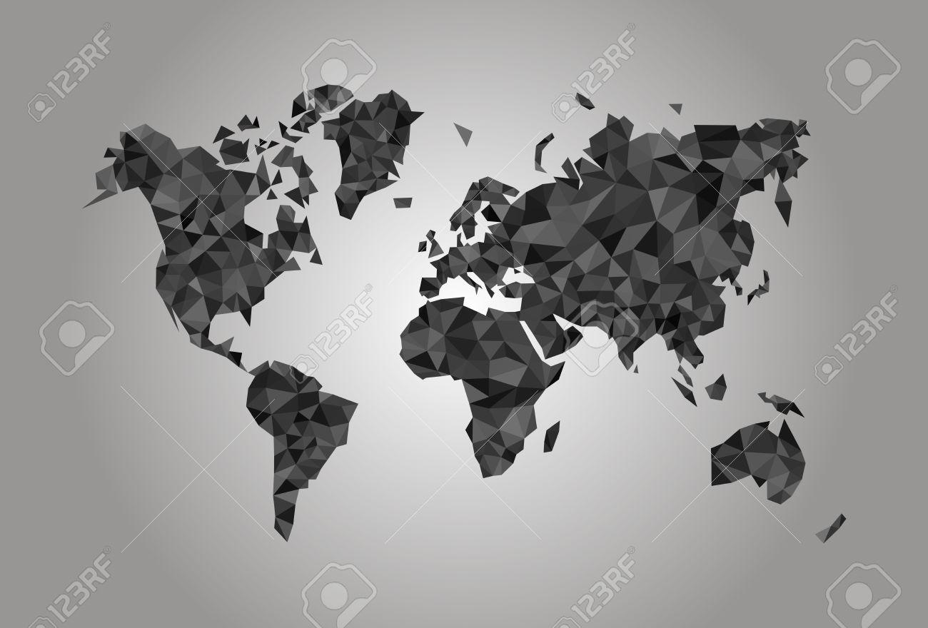 Coal World Map.World Map Polygonal Precision Low Poly Black Coal Mining Stock Photo