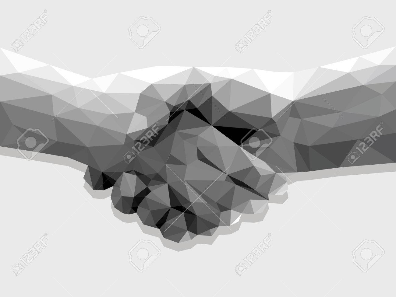 two hands handshake polygonal low poly contract agreement monochrome on a light background. - 55309430