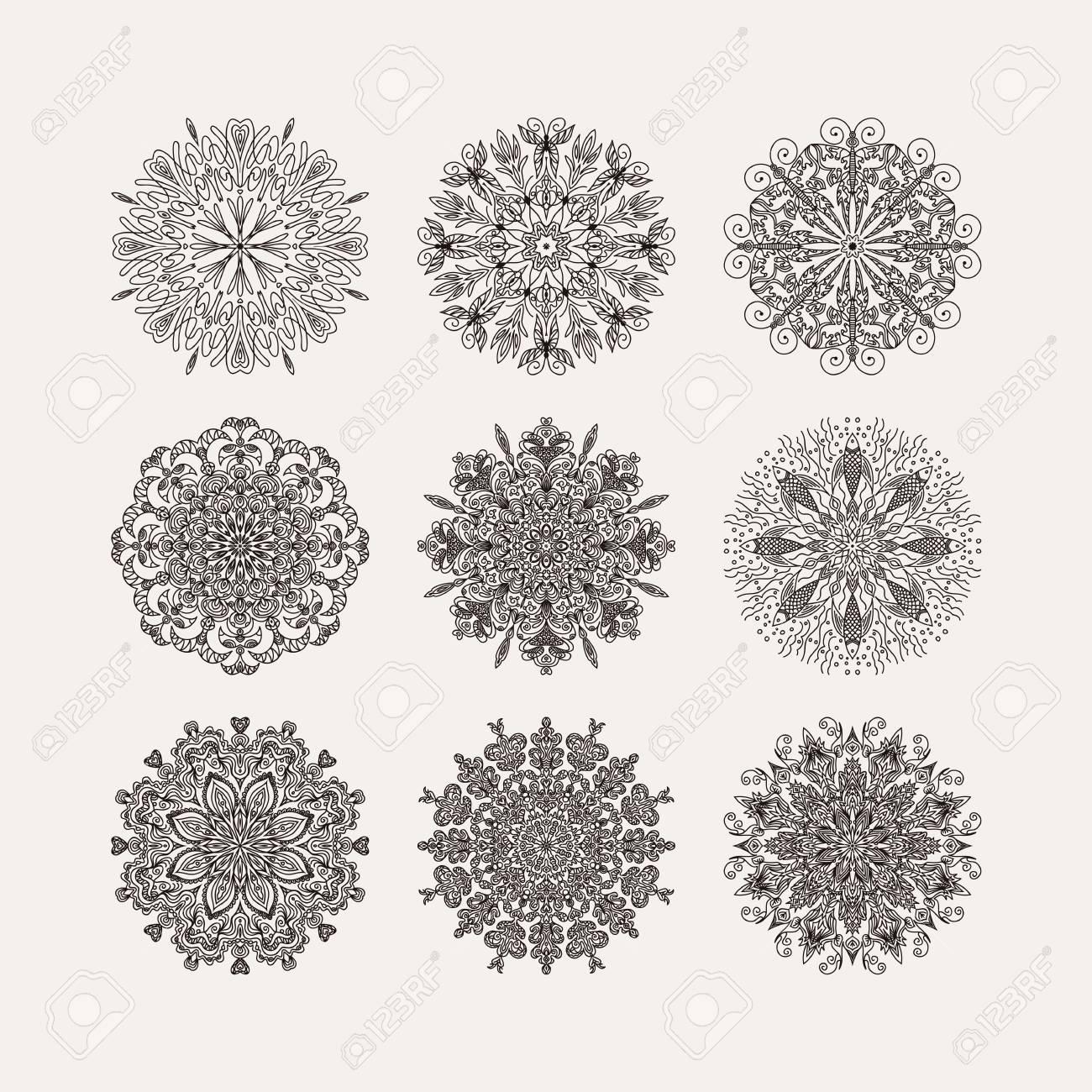 Conjunto De 9 Patrón Circular Radiales Flores Del Corazón Copos De ...