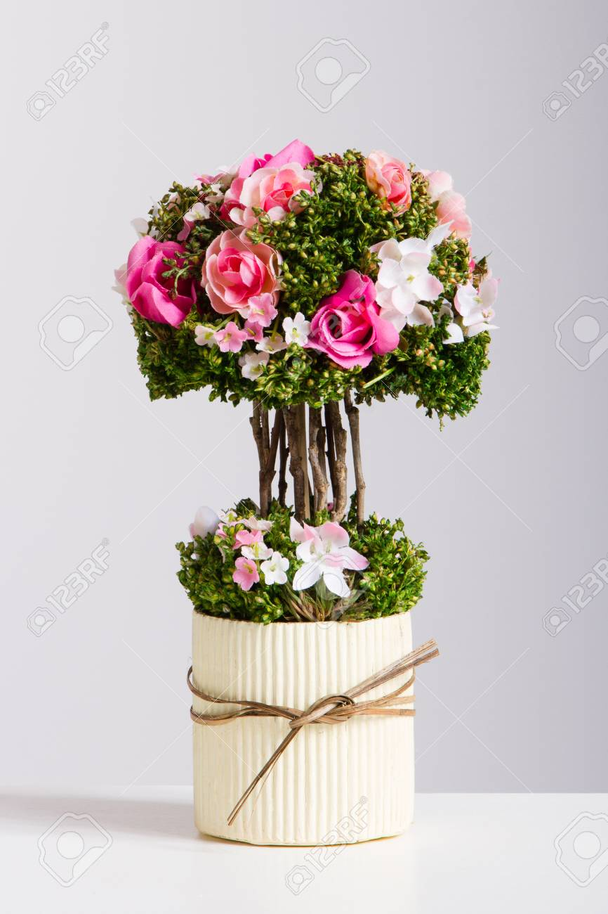 Bonsai Tree Artificial Flowers Red And Pink Stock Photo Picture And