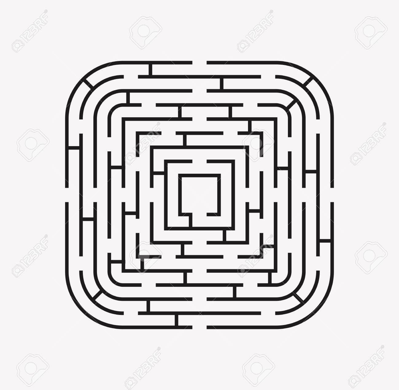 Square With Rounded Corners Maze Puzzle Find The Way Black On