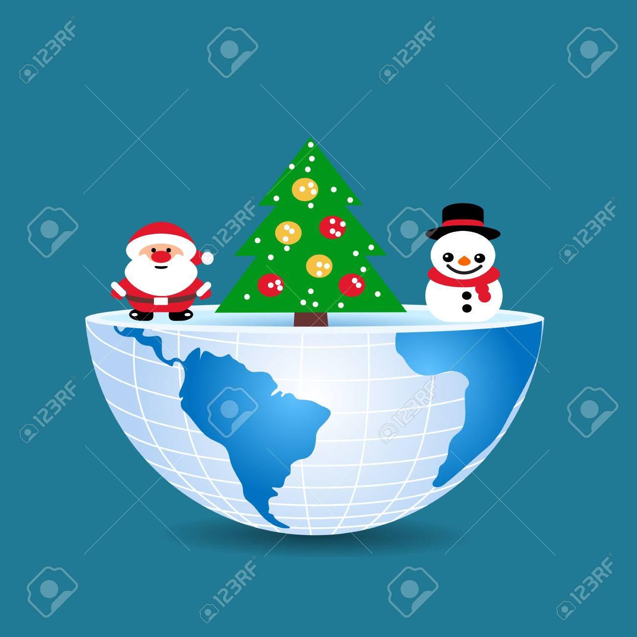 Albero Di Natale E Babbo Natale.Vettoriale Meta Del Mondo Con Al Suo Interno Albero Di Natale Pupazzo Di Neve E Babbo Natale Image 65838913