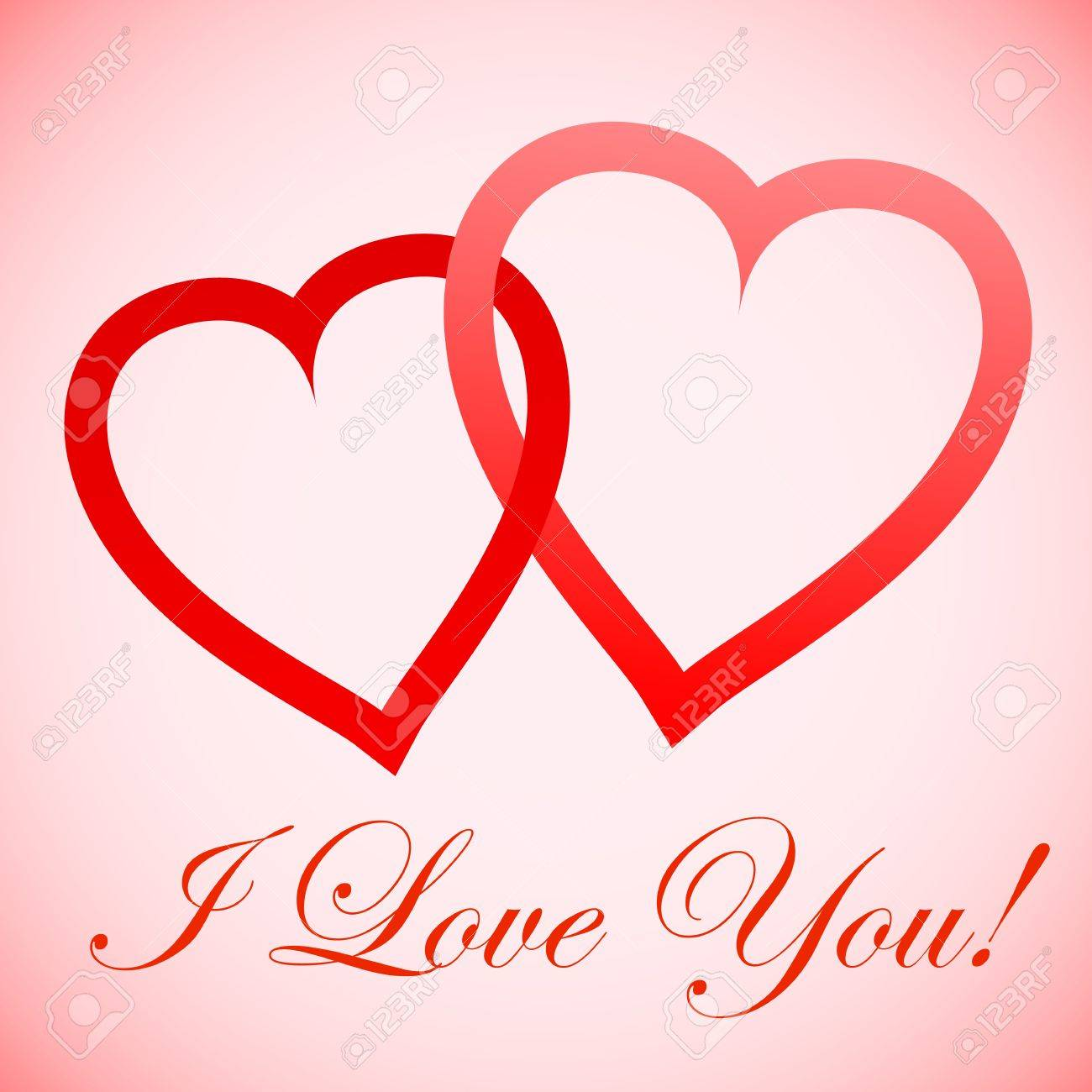 Whith Love for You, two hearts, with shadow Stock Vector - 16761490