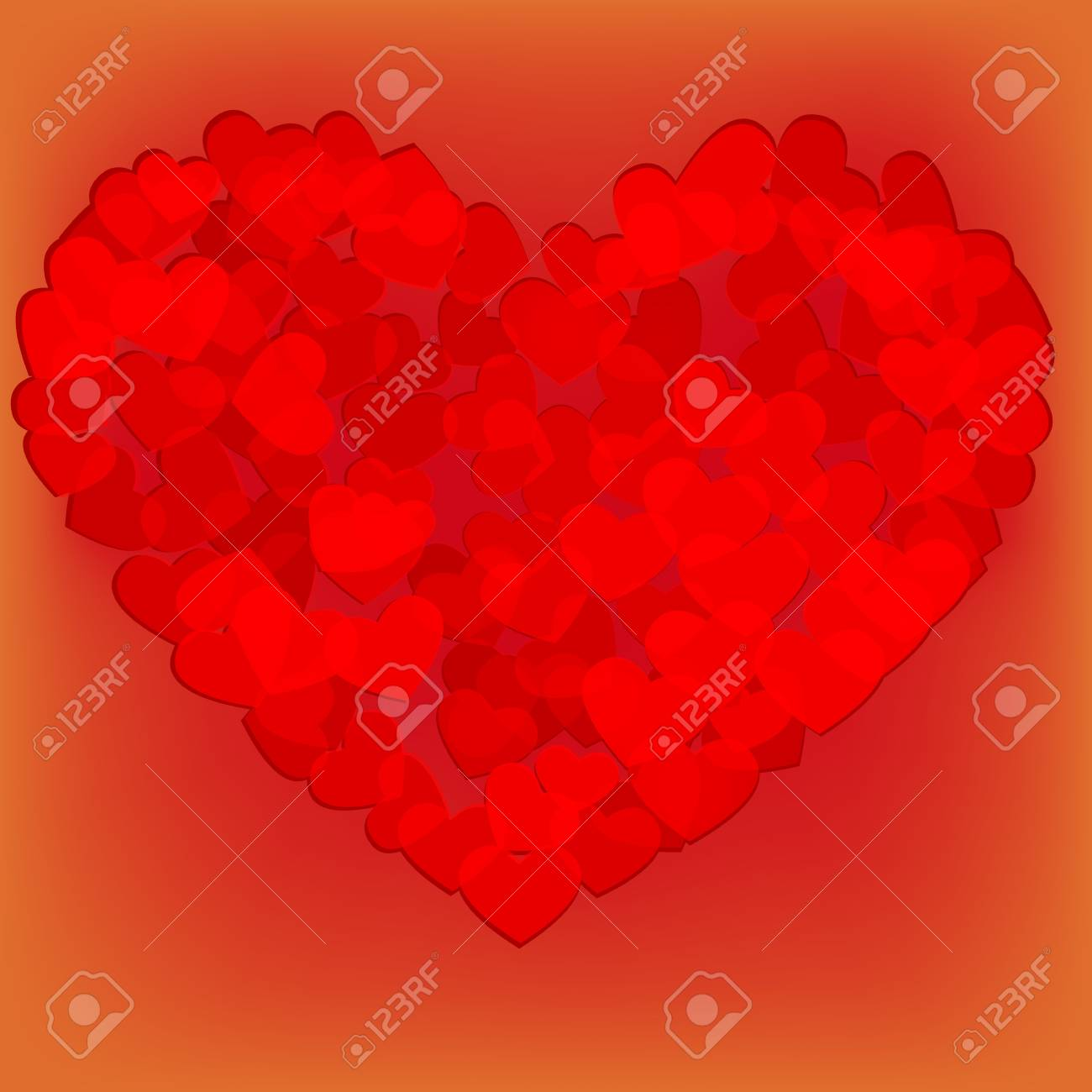 Valentines composition of the hearts Stock Vector - 17336525