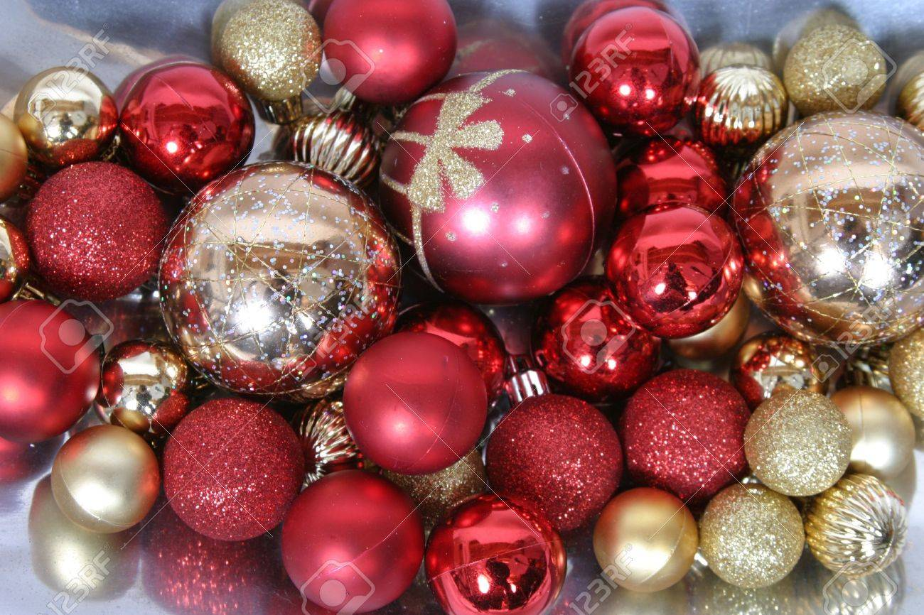 Gold and red ornaments - Stock Photo Red And Gold Shiny Christmas Tree Ornaments