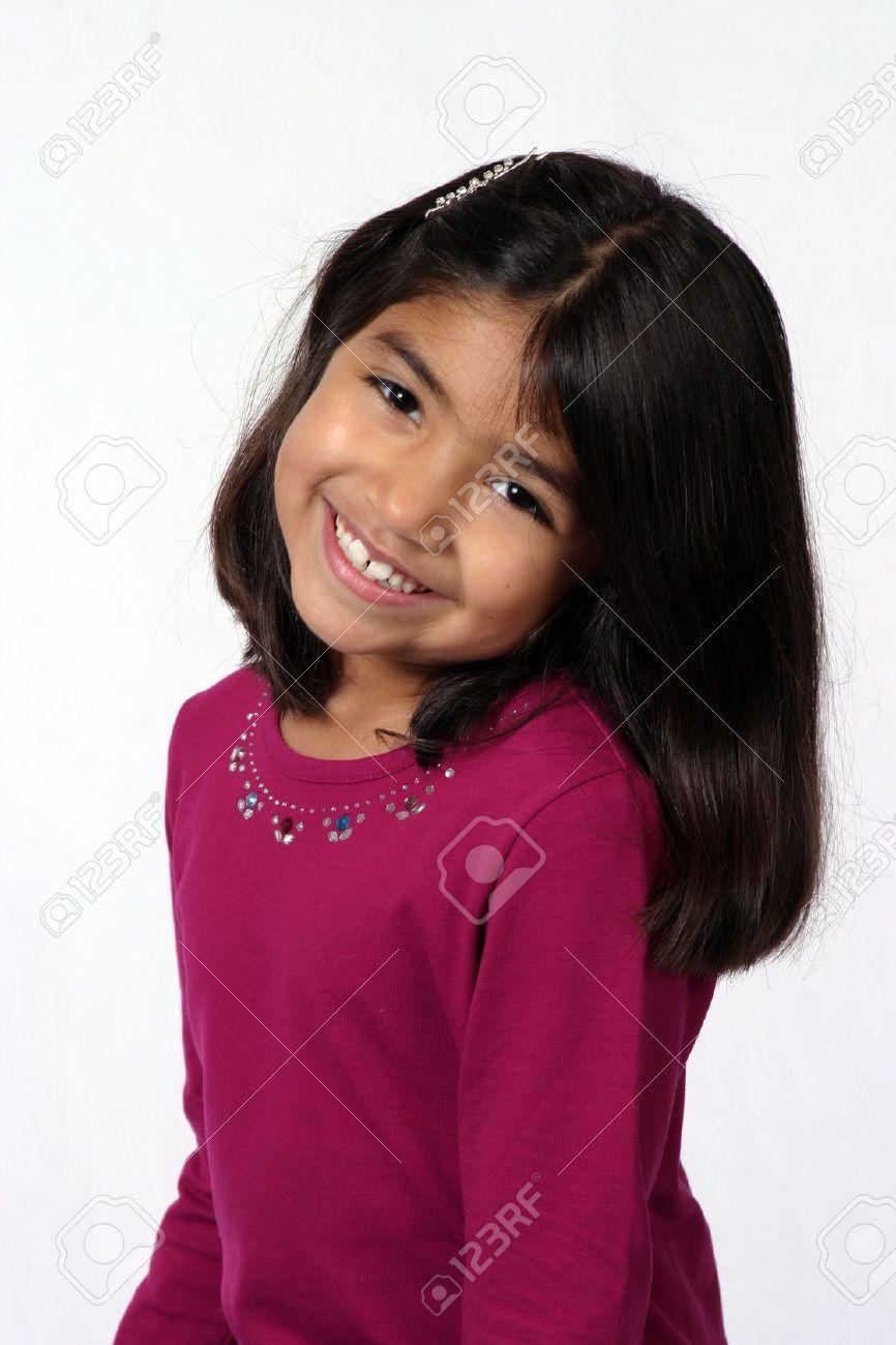 Cool Cute Black Hair Brown Eye Little Girl Smiling Stock Photo Picture Short Hairstyles For Black Women Fulllsitofus
