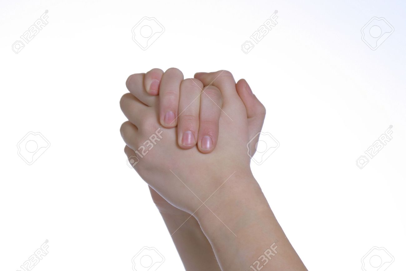 two caucasian hands clasped together on white space Stock Photo - 702597