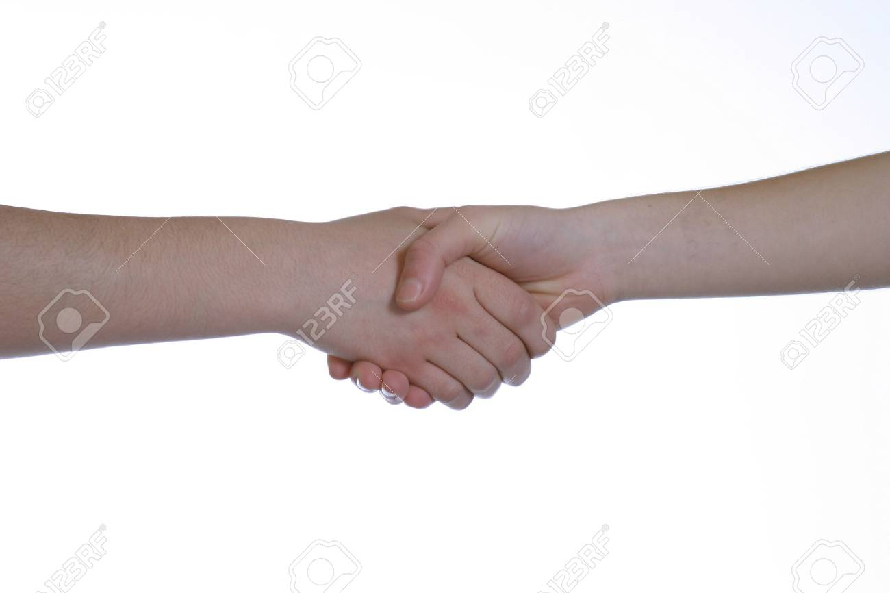 two caucasians shaking hands on white background Stock Photo - 702586