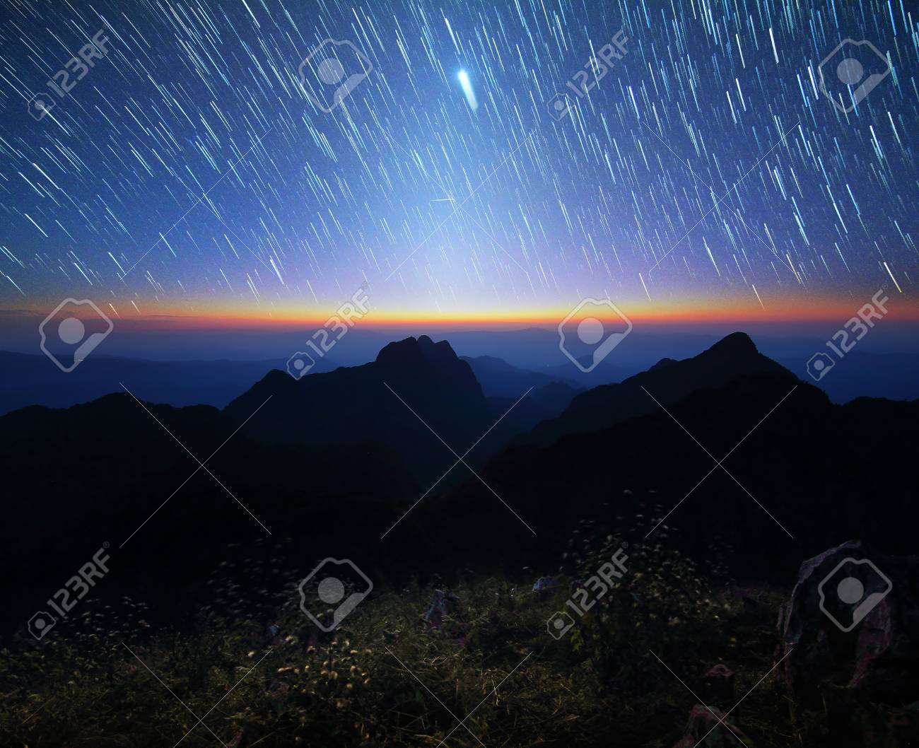 Beautiful Scenery Of The Startrail On Sky At Night Doi Luang Chiang Dao
