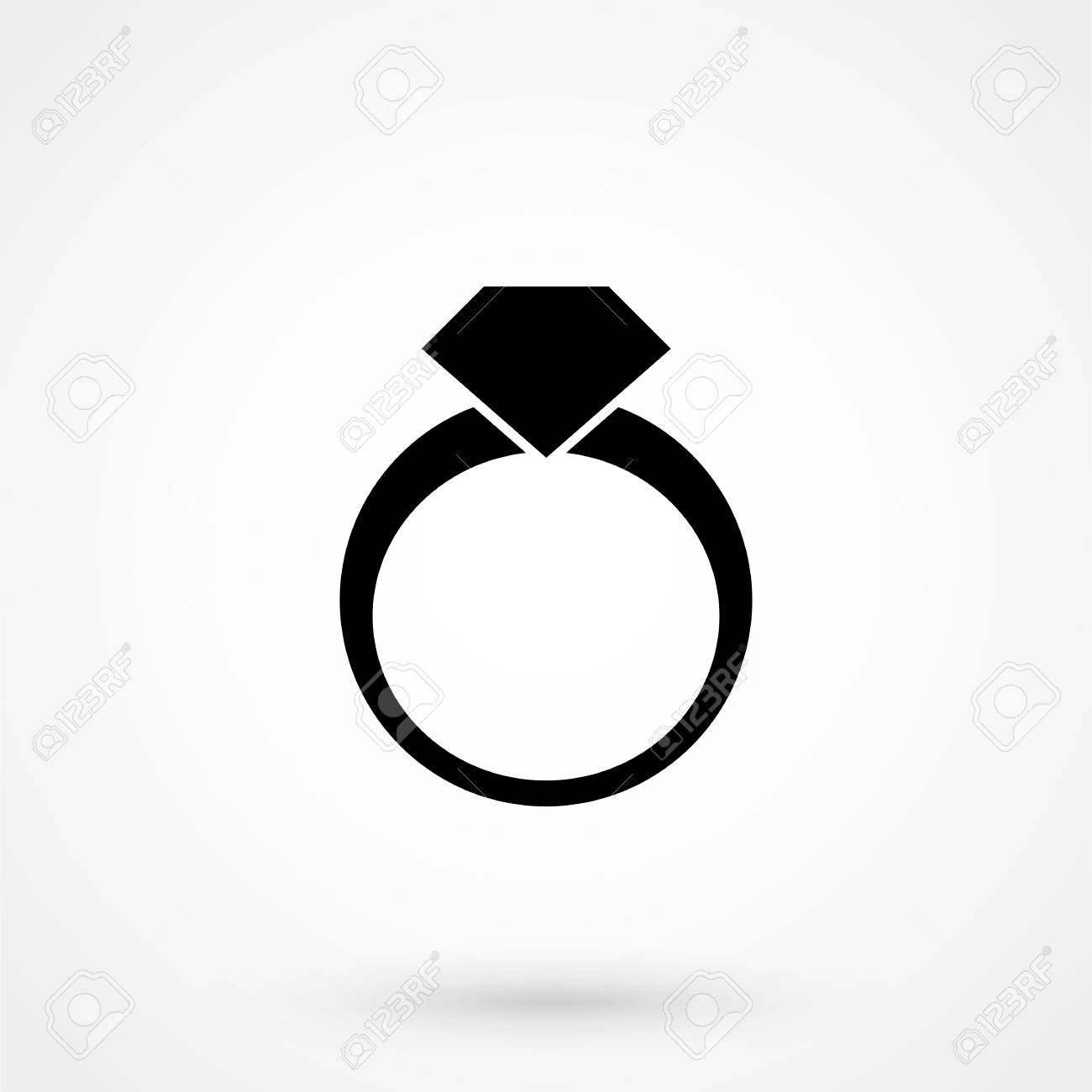 Gray Flat Wedding Ring Icon Isolated On White Royalty Free Cliparts