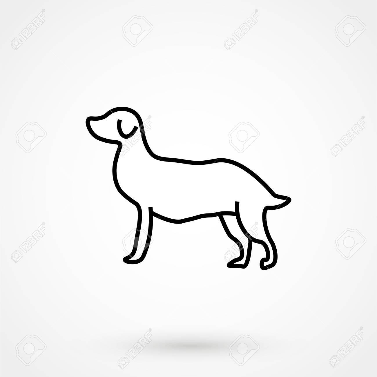 Disegno Di Un Cane Facile.Dog Icon Simple Design On A White Background Vector Illustration