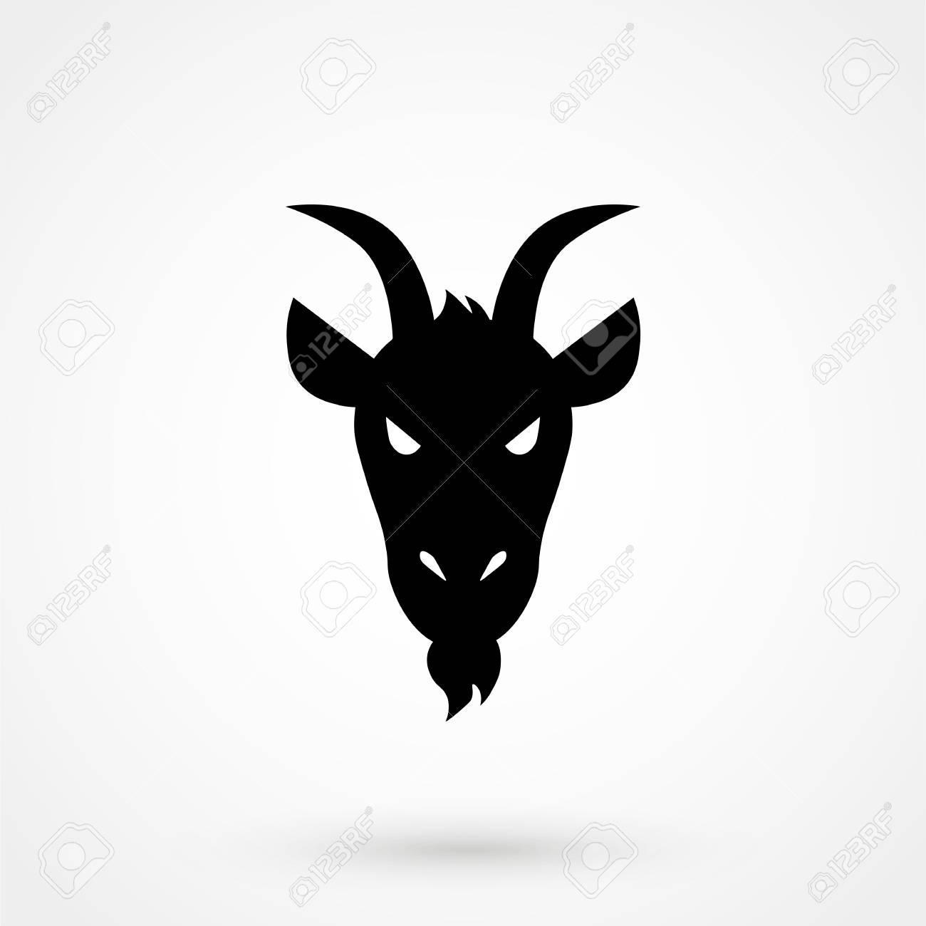 Front view goat head logo template for meat and dairy products