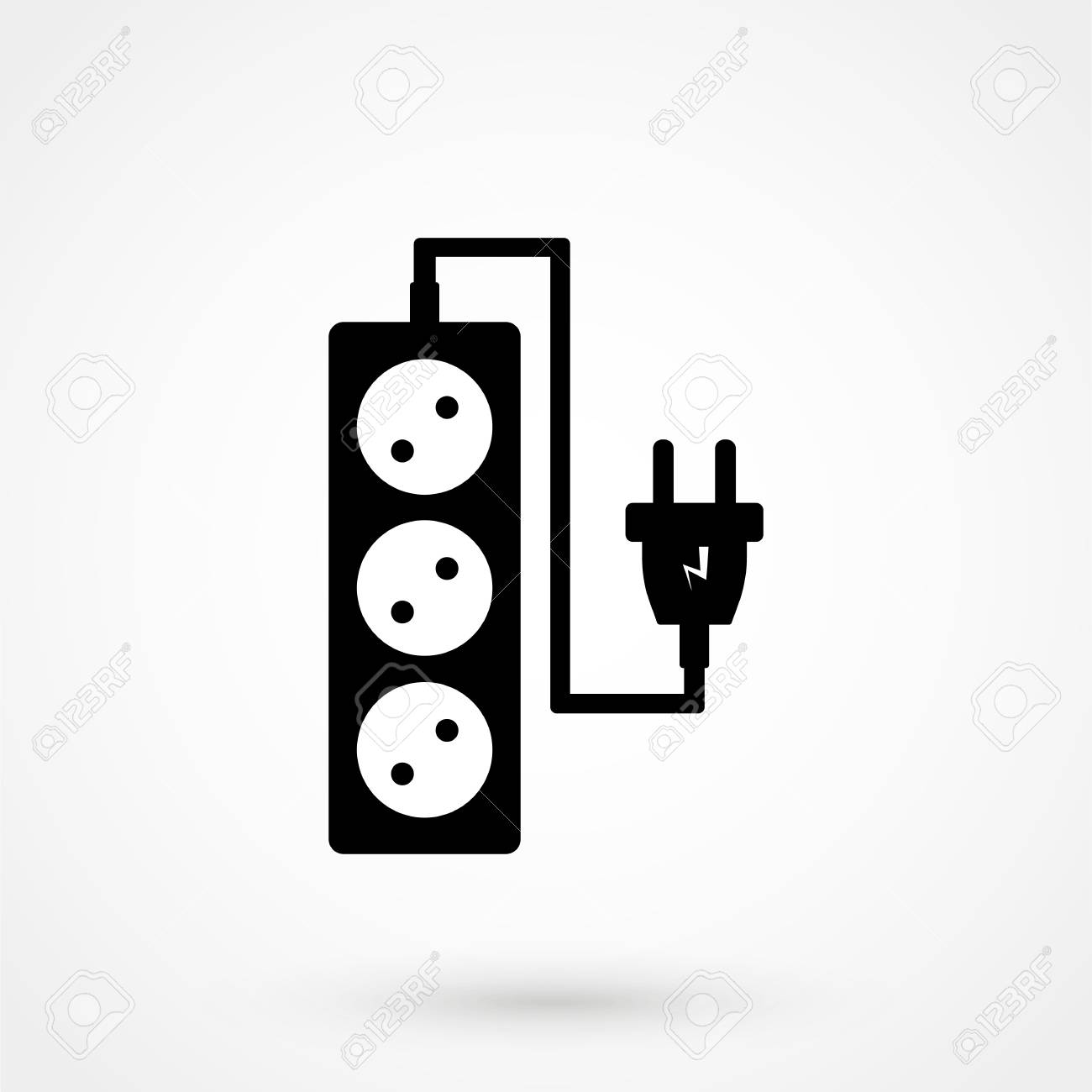 Electrical Socket Sign Black Electric Plug And Socket Electrical