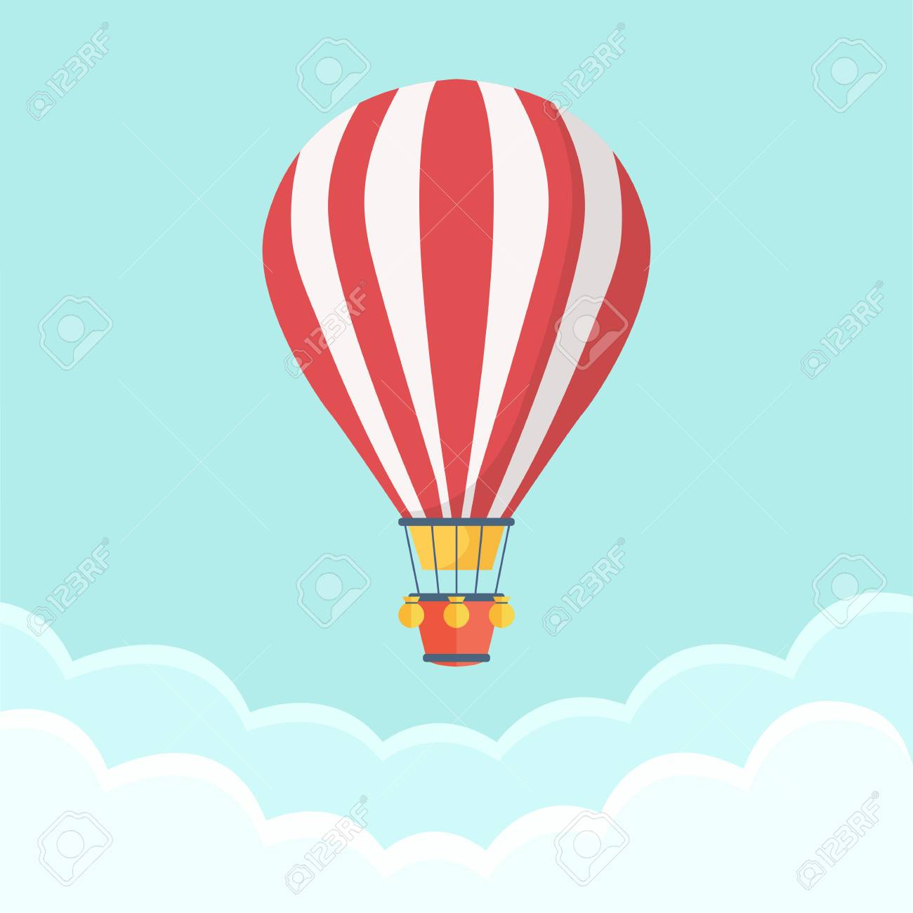 Hot Air Balloon In The Sky With Clouds Flat Cartoon Design Royalty Free Cliparts Vectors And Stock Illustration Image 95712998